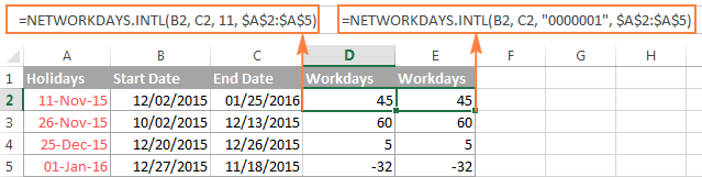 Using the NETWORKDAYS.INTL function is Excel