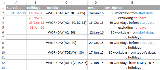 Using the WORKDAY function in Excel