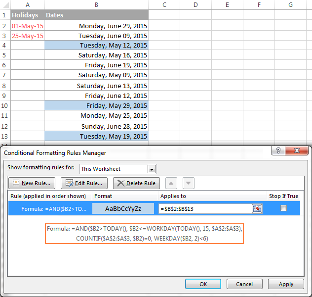 Highlighting workdays in Excel