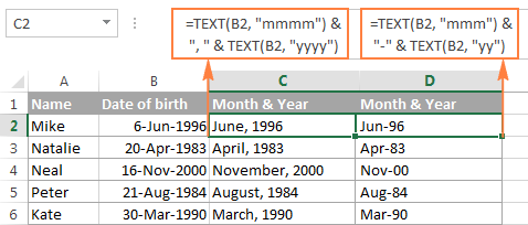 TEXT formulas to convert date to month and year in Excel