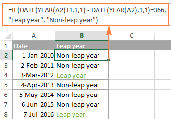 Another way to determine leap and non-leap years in Excel