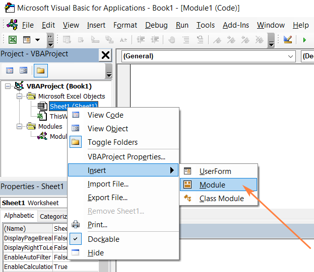 alt=How to insert a macro in the VBA editor