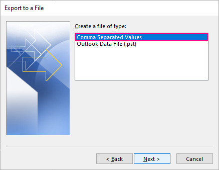 Choose to export to a Comma Separated Values (.csv) file.