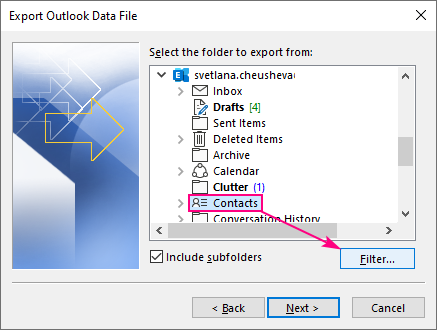 Filter the contacts to be exported.