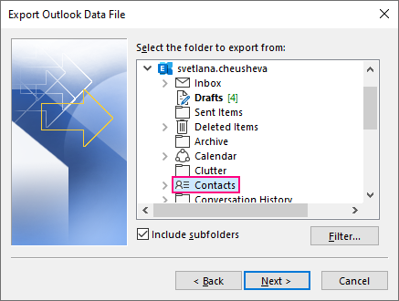 Select the Contacts folder to export.
