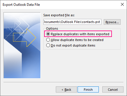 Choose how to deal with possible duplicates and click Finish.