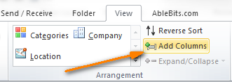 Click the Add Columns button to add fields to your custom contacts view.