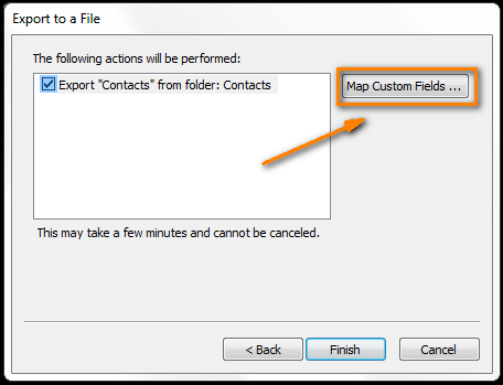 Click the Map Custom Fields button to choose the fields you want to export.