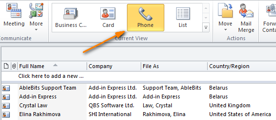 In Outlook 2010, click the Phone icon to display a table view.