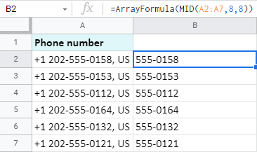 Use ArrayFormula to extract data from the middle of all Google Sheets cells at once.