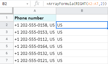 Extract data from the end of all Google Sheets cells at once using the ArrayFormula.