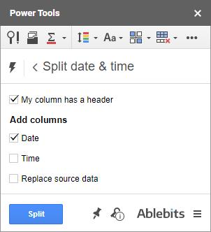 Split Date & Time add-on.