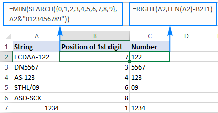Excel: Extract number from text string