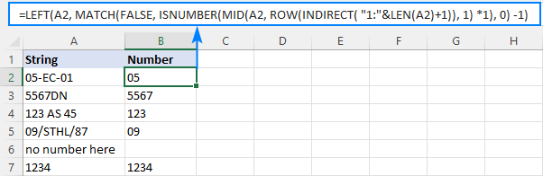 Formula to extract number from the beginning of text string