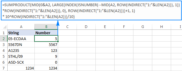 Formula to get number from any position in a string