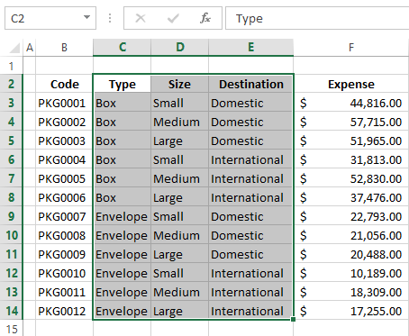 Press Fill to fill empty cells in Excel