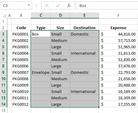 Select the columns or rows where you want to fill in blanks