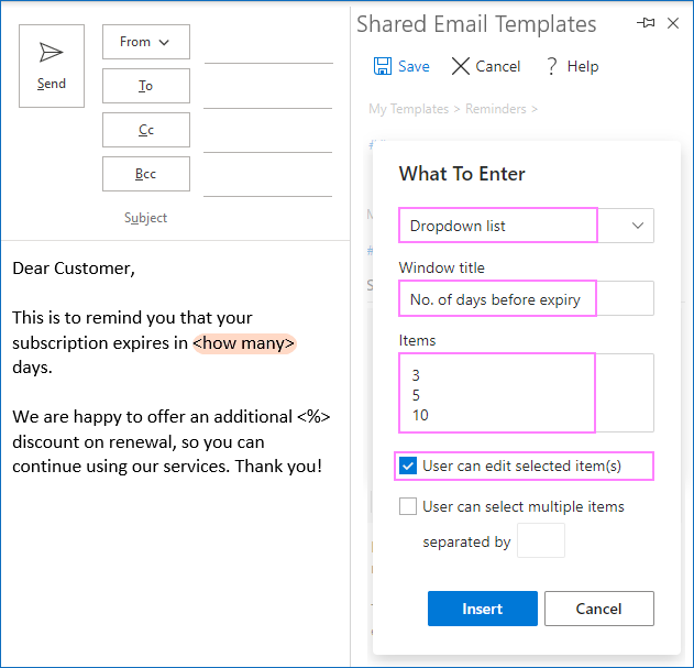 Configuring a dropdown list for an email template