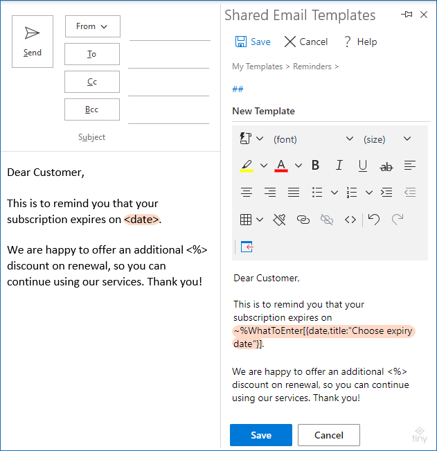 A properly configured macro is inserted in the email template.