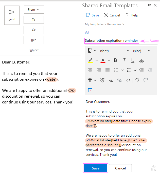 A fillable email template for Outlook