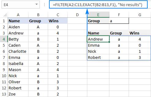 Case-sensitive FILTER formula
