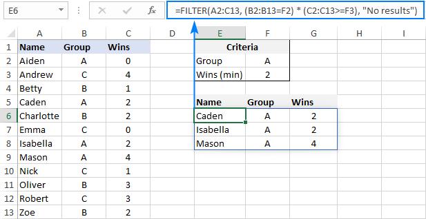 Filter multiple columns in Excel