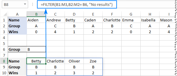 Filtering data organized horizontally in rows