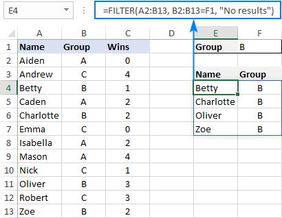 FILTER formula to return results from certain adjacent columns