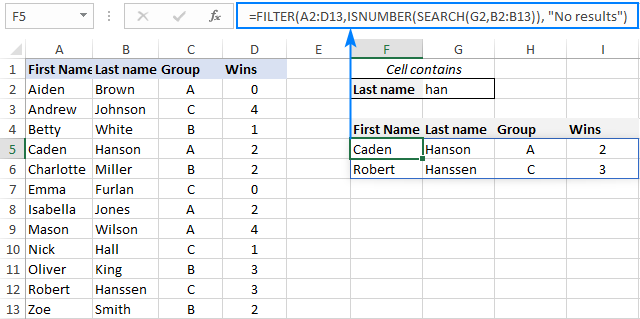 A formula to filter cells containing specific text