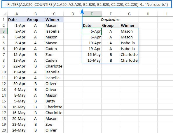 A formula to filter duplicates in Excel