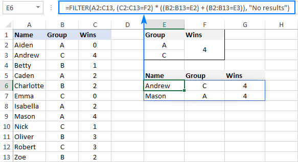 Filtering data based on multiple AND as well as OR criteria