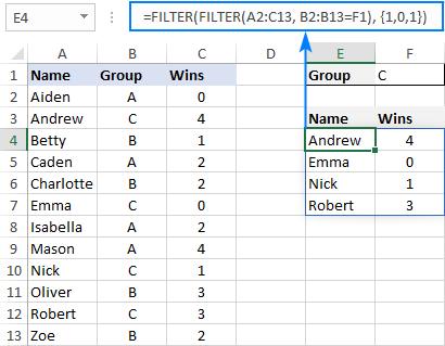 FILTER formula to return non-adjacent columns