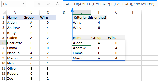 Filtering data with multiple OR criteria