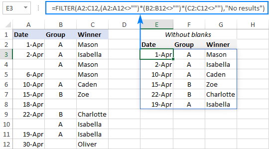 A formula to filter out blank cells