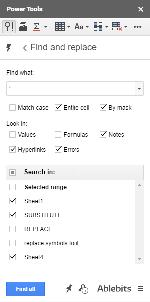 Find all cells with notes, hyperlinks, errors.