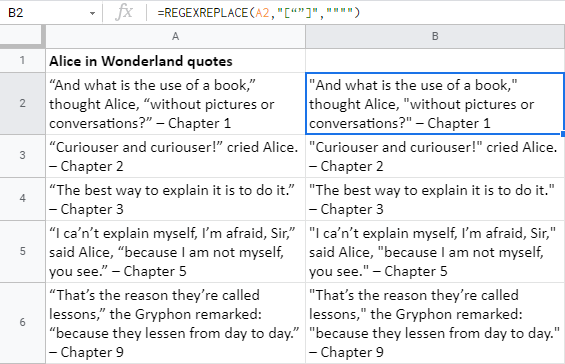 Find and replace smart quotes using Google Sheets REGEXREPLACE.
