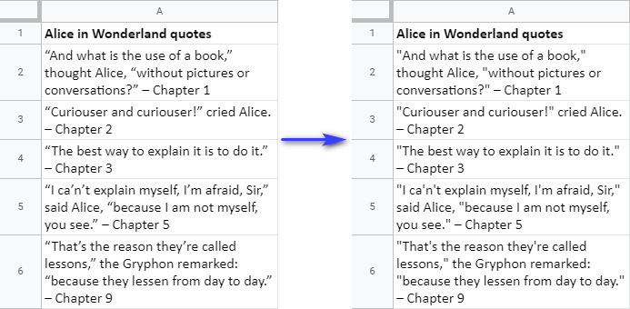 Find and replace all smart quotes in Google Sheets with straight quotes.