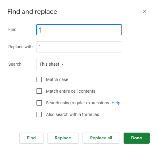 Find and replace tool from Google Sheets.