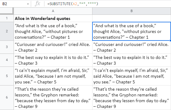 Find opening smart quotes and replace them with straight quotes in Google Sheets using the SUBSTITUTE function.
