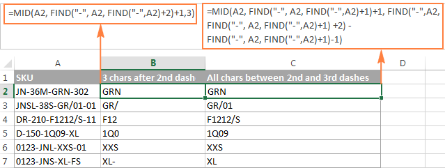 FIND formulas to extract three or all the characters between the 2nd and 3rd dashes