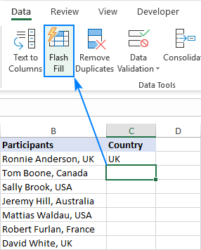 Flash Fill in Excel with a button click.