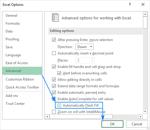 Disable Flash Fill in Excel.