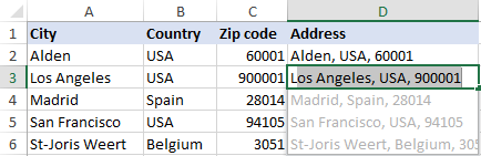 Using Flash Fill to combine data from several cells