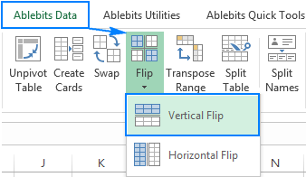 How to flip data in excel columns and rows vertically and horizontally with any cell in your table selected go to the ablebits data tab transform group and click flip vertical flip ccuart Image collections
