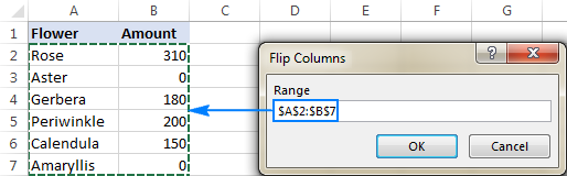 Flip columns in Excel by using a macro.
