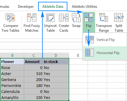 Horizontal Flip in Excel