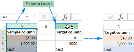 Apply the formatting of one column to another column by row-by-row