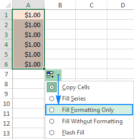 In the Auto Fill Options drop-down menu, and select Fill Formatting Only.