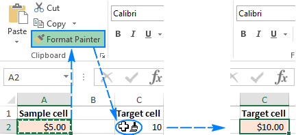 UUsing the Format Painter to copy formatting to a target cell