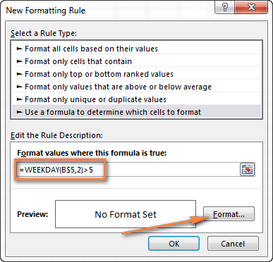 Excel conditional formatting rule with the WEEKDAY formula to highlight weekends.
